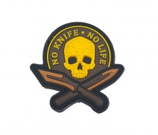 No knife No life patch PVC nášivka žlutá